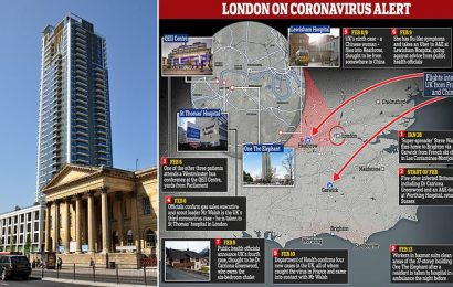London tower block is disinfected by hazmat suit-clad workers